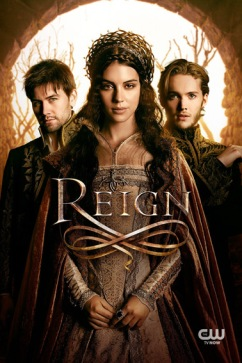 Reign, CW tv. Torrance Coombs as Bash, Adelaide Kane as Mary, Queen of Scots, and Toby Regbo as Prince Francis