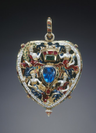 Maker unknown, possibly Scottish, c.1571–78 Gold, enamel, Burmese rubies, Indian emerald and cobalt-blue glass, 7.6 cm (height with pendant loop), 5.2 cm (width) Lent by the Royal Collection Trust on behalf of Her Majesty the Queen