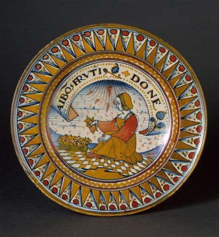 Femme et corbeille de fruit, phylactère avec inscription