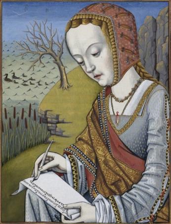 Robinet Testart, Hypsipyle écrivant. Manuscrits occidentaux, FR 875 © Bnf, Paris