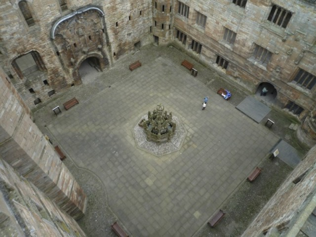 Looking down to the courtyard